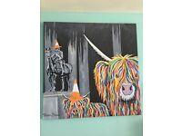 Steven Brown Print Canvas ' Geordie & The Wee Yin'