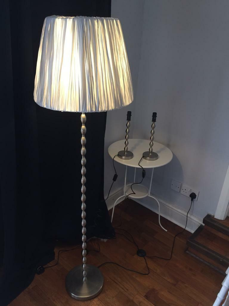 Silver floor lamp with grey lamp shade and matching table lamps ...