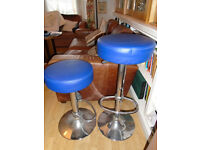 Pair of bar stools - chrome with blue seats in reasonable condition. Collect only from central Hove