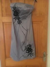 Jane Norman silver with black flowers dress size 8