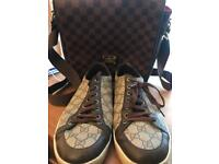 Gucci sneakers, LV bag and DKNY jacket