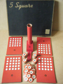 Old collectable Chad Valley (5 Square, word board game). 1960s in very good condition.