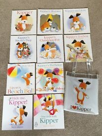 10 Children's books and bag - Kipper Collection by Mick Inkpen. Like new.