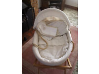 Mamas & Papas Moses Basket c/w Stand + Mattresses & Bedding