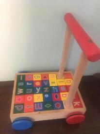 Wooden baby walker bricks blocks alphabet