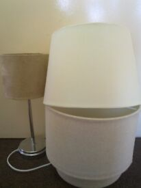 3 x lamps lamp shades light fittings velvet soft fabric cream beige shades home decor CAN DELIVER