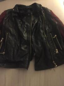 Leather Misguided jacket with wool sleeves