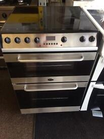 Stainless steel belling 60cm ceramic hub electric cooker grill & double fan oven with guarantee