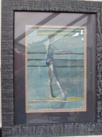 art work painting water colour picture original of ballet dancer