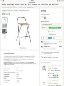 John Lewis Verona folding bar chair stool