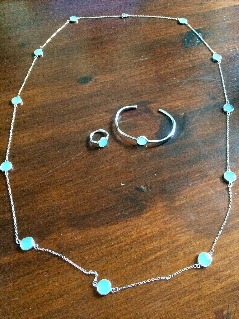 Matching silver & blue necklace, bangle and ring set