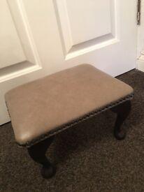 Vintage look small leather footstool
