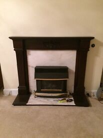 Marble & Wood Fireplace