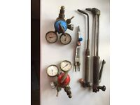 2 x Oxy Acetylene Valves & Gauges and 3 x Torches