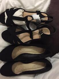 2 pairs of new look wedges