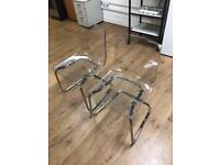 Two Perspex chairs with silver trimmings - Used