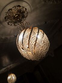 Gold chandelier with crystal cut glass - set of 2