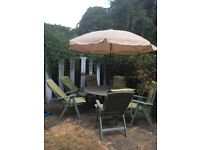 Painted oak large dining table and six chairs with parasol