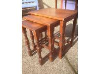 Lovely Vintage Solid Oak Nest of 3 Tables