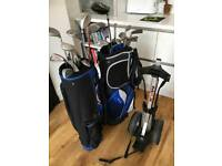 Golf bags, clubs and trolley