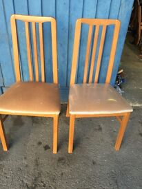 Solid Oak Two Dinning Chairs .