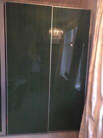 Pair of Ikea Pax Sliding Wardrobe Doors in Green