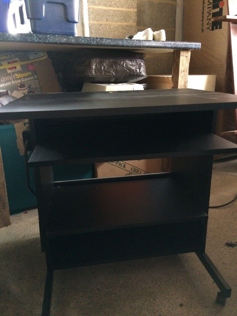 Black Computer Desk With Pull Out Keyboard Shelf And 2 Under Shelves