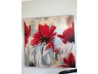Oil painted poppy canvas