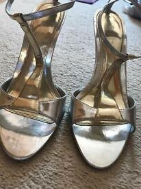 Faith silver & gold strappy heels. Size 6
