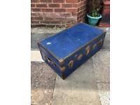 Vintage blue luggage shipping steamer Trunk with Tray .