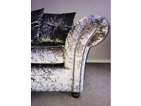 Mink Crushed Velvet corner sofa & Swirly chair