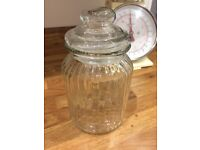 Medium sized glass storage jar