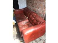 Harveys Red 3 Seater Leather Sofa