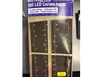 New Boxed 400 LED Curtain Lights Soft Glow Was: £40