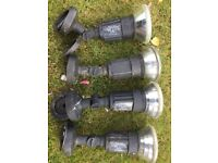 Four Garden floodlights complete with PAR 38 bulbs. In good working order