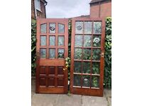 House doors, Cherry wood or mahogany external and internalold style very good cond