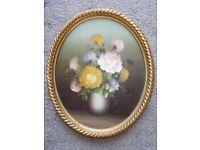 Vintage framed floral painting