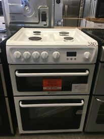 HOTPOINT Ultima HAG60P Gas Double Oven Cooker - White