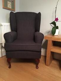 High Back Arm Chair (dark grey seat, wooden legs, living room furniture)