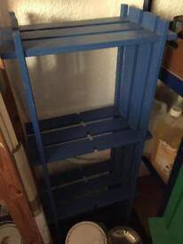 Two free standing shelving units