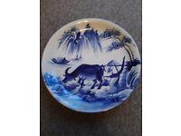 Blue & White Japanese Style Plate (bull)