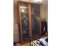 Large IKEA wardrobe with etched glass doors