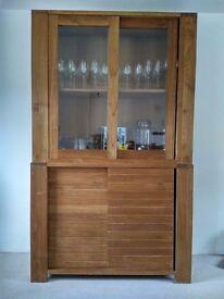 Contemporary Solid Oak & Glass Cabinet