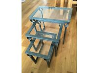 Nest of tables, metal frame, glass tops