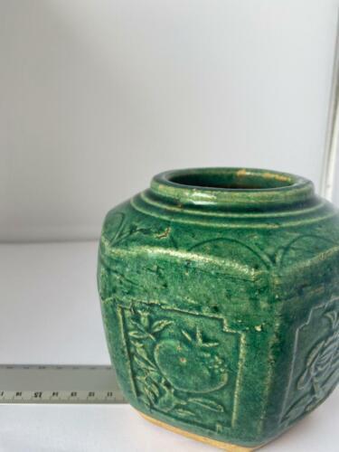 Chinese Vintage Green Ceramic Hexagonal Ginger Jar - Floral Pattern