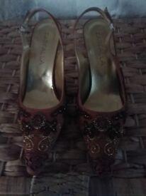 Fafella heels tan satin with embelishment