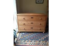 Large Antique French Pine Chest of Drawers