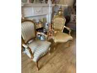 Beautiful pair of gold Louis Armchairs