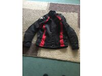 Frank Thomas red/black textile motorcycle jacket with accessories