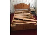 Pine double bed frame (free delivery)